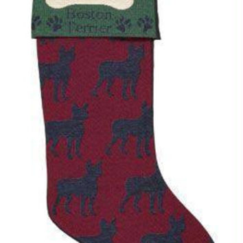 "Boston Terrier Stocking - Approximate Measurements: 8 "" W X 18 "" H"