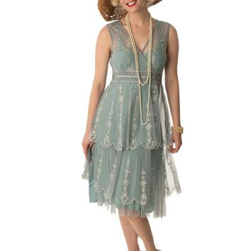 20s Inspired Dusty Blue Tiered Tulle Empire Dress