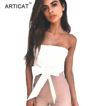 ARTICAT Strapless Lace Up Crop Top Women Sexy Off Shoulder Zipper Shirt Top Tees Slim Party Summer Top Cropped Female Camisole