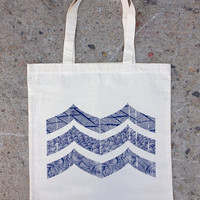 Natural Cotton Canvas Tote Bag - Abstract Mountain Illustration