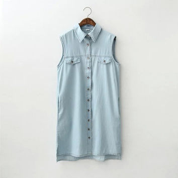 Sky Blue Pointed Flat Collar Button Up Pockets Denim Mini Dress