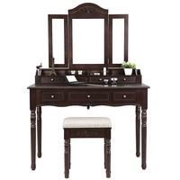 Brown Vanity And Mirror With Cushioned Stool