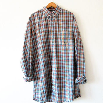 Vintage Wrangler Rainbow Plaid Button Down Shirt with Crest Pocket Detail Sz XL