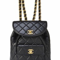 CHANEL VINTAGE BLACK QUILTED CHAIN DRAWSTRING BACKPACK BAG ** HARRODS **