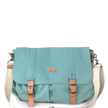 turquoise messenger bag/diaper bag/canvas bag/shoulder bag