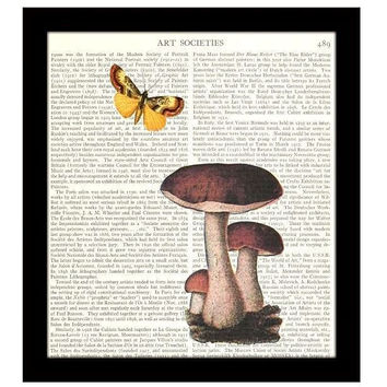Kitchen Decor Dictionary Art Print 8 x 10 Mushrooms Butterfly Collage