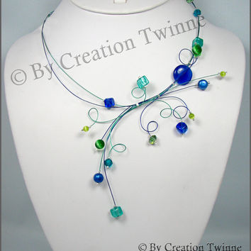 royal blue  green swirls necklace,wedding necklace,mother gift, christmas gift idea,delicate necklace, bridesmaids gift, funky