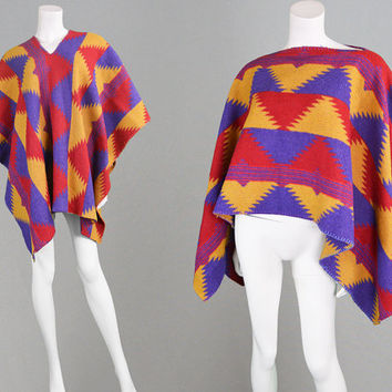 Vintage 70s Southwestern Poncho Wool Cape Coat Aztec Print Mexican Poncho Hippy Jacket Navajo Blanket Coat 1970s Clothing Tribal Print Shawl