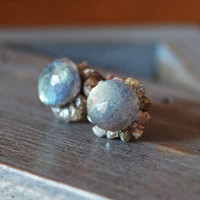 Champagne Rough Diamond Stud Earrings with Labradorite