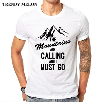 Trendy Melon Men T-Shirt The Mountains Are Calling And I Must Go Short Sleeve Casual Tee Shirts Hipster Funny Tops MAA30