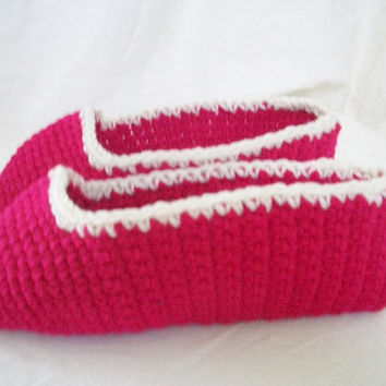 Crochet Red and White Slippers / House Slippers