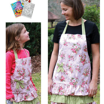 Manual Woodworkers Flower Market Child and Adult Pink Apron Set with Coloring Book