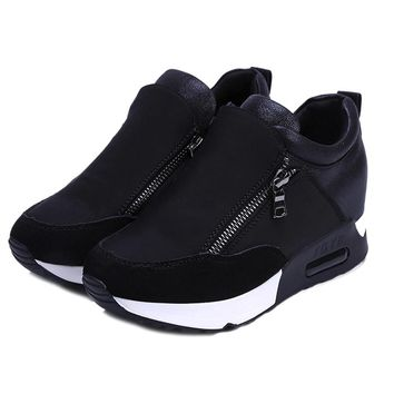 2018 Running Hiking Thick Bottom Platform Wedges Shoes Woman sports Sneakers Spring Autumn Fashion Ladies black students shoes