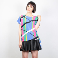 Vintage 80s Blouse New Wave Abstract Print Shirt Tie Waist Side Avant Garde Rainbow Striped Tunic Geometric Mod 1980s Shirt M Medium L Large