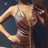 2016 Newest Style Women Sequined Gold Party Dresses Vestido Sexy Backless Bodycon Ladies Sliver Deep V Neck Nightclub Mini Dress