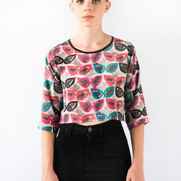Cateye Sunglasses Silk Crop Top