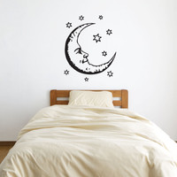 Large Moon and Stars Vinyl Decal