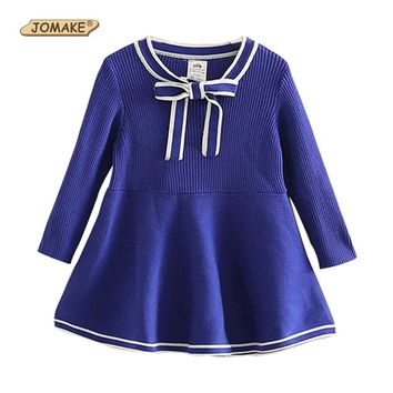Girl Knitted Sweater Dress Baby Princess Dress Navy Style Bow Girls Dresses 2017 Autumn vestidos Infant Sweaters Toddler Clothes