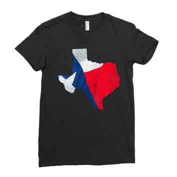 Eroded Texas Map With Flag Ladies Fitted T-Shirt