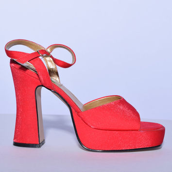 90s Vintage Cherry RED Chunky Heel Platform ~ Prom Shoes! ~ size 7