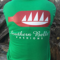 Green and Red Long Sleeve Logo Tee