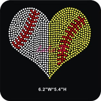 Baseball and softball heart iron on hot fix rhinestone bling transfer - DIY motif design appliqué for shirts t shirts tees - custom hotfix