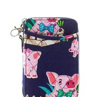 Quilted Wristlet Wallet Pig Print