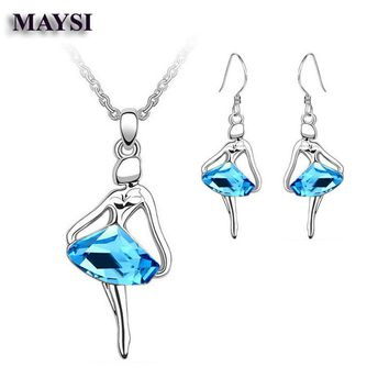 Girls Kid Children Jewelry Silver Plated CZ Dancing Ballet Girl Charm Pendant Necklace Earrings Ring Jewelry Set zq08b
