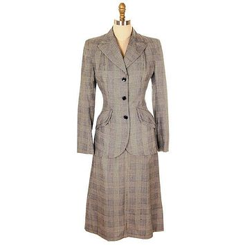 Vintage Suit Plaid Wool Pencil Skirt 1940s New w/Tags Womens