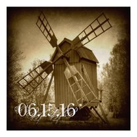Getting Hitched Rustic Windmill Wedding Invitation