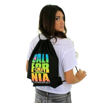 California Republic Neon Retro Cotton Canvas Drawstring Backpack