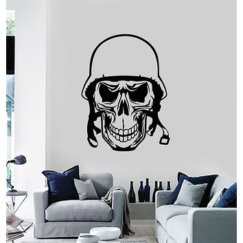 Vinyl Wall Decal Soldier Skull Bone Head Helmet Warrior Stickers Mural (g807)