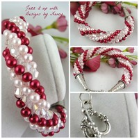 Candy cane hand crocheted rope braclet baby pink cranberry Swarovski