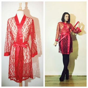 Red Lace Robe Floral Semi Sheer Short Sexy Lingerie Robe with Sash Tie Size Medium