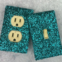 Turquoise Glitter Switchplate / Outlet Cover Pair