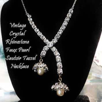 Antique Sautoir Diamante Crystal Rhinestone and Faux Pearl Tassel Filigree Necklace 1940s Old European Cut Crystals Hollywood Wedding Bride