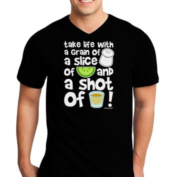 Take Life with a Grain of Salt and a Shot of Tequila Adult Dark V-Neck T-Shirt by TooLoud