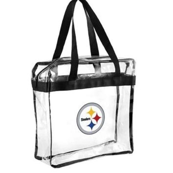 Pittsburgh Steelers Clear Plastic Zipper Tote Bag NFL 2017 Stadium Approved