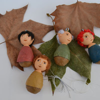 Elves - Christmas Tree Ornament - Original Kokeshi Dolls - Mixed Media - Christmas Decoration