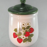 McCoy Pottery, Ceramic Strawberry Pattern No. 131, Decorative Kitchen Canisters, Green Lids, Vintage 1950s, Made USA