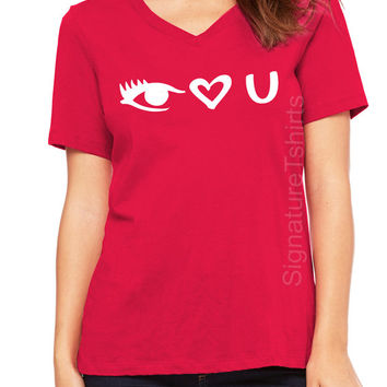 I Love You T-shirt. Valentines Day Gift. Funny Valentines shirt. Womens V Neck tshirt tee. I heart You shirt. Wife Gift. Girlfriend gift.