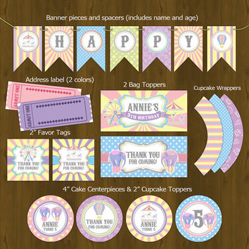 Carnival Carousel Printable Birthday Party Package - Amusement Park party themed Birthday Set for girls - Invites, cupcake toppers etc