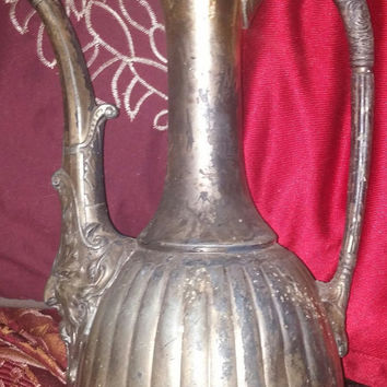 Exotic Vintage Reed & Barton Middle Eastern Turkish Ottoman Style Silverplated Coffee Pot / Pitcher