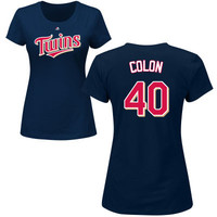 Women's Minnesota Twins Majestic Navy Custom Roster Name & Number T-Shirt