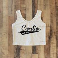 Cardio and Coffee Shirt Sporty Crop Top Yoga Top Tank Top Midriff Mid Driff Belly Shirt – Size S M
