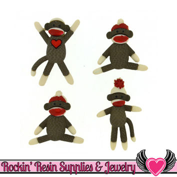 Jesse James Buttons 4pc sock monkey / Turn them Into Flatback Cabochons