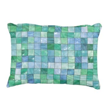 Shiny Blue Green Faux Glass Block Tile Mosaic Accent Pillow