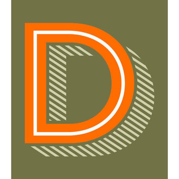 The Letter D, Original Art Print, Alphabet, Typography, Orange, Green, 11x14