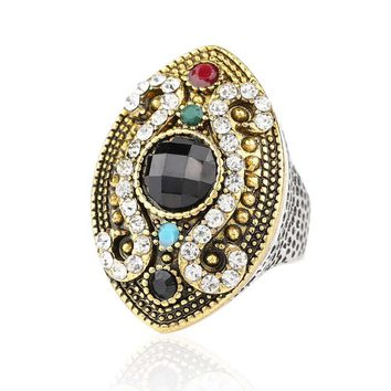 2015 Fashion Colour Makeup Vintage Ring For Women Silver Plated Mosaic Crystal Horse Eye Turkish Jewelry