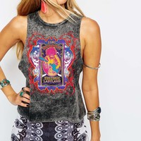 ASOS Festival Vest in Acid Wash with Jimi Hendrix Print